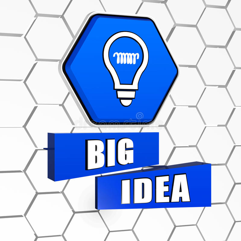 Big Idea And Light Bulb Symbol In Blue Hexagon And Blocks Stock