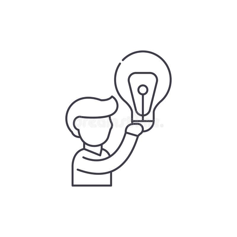 Big idea line icon concept. Big idea vector linear illustration, symbol, sign royalty free illustration