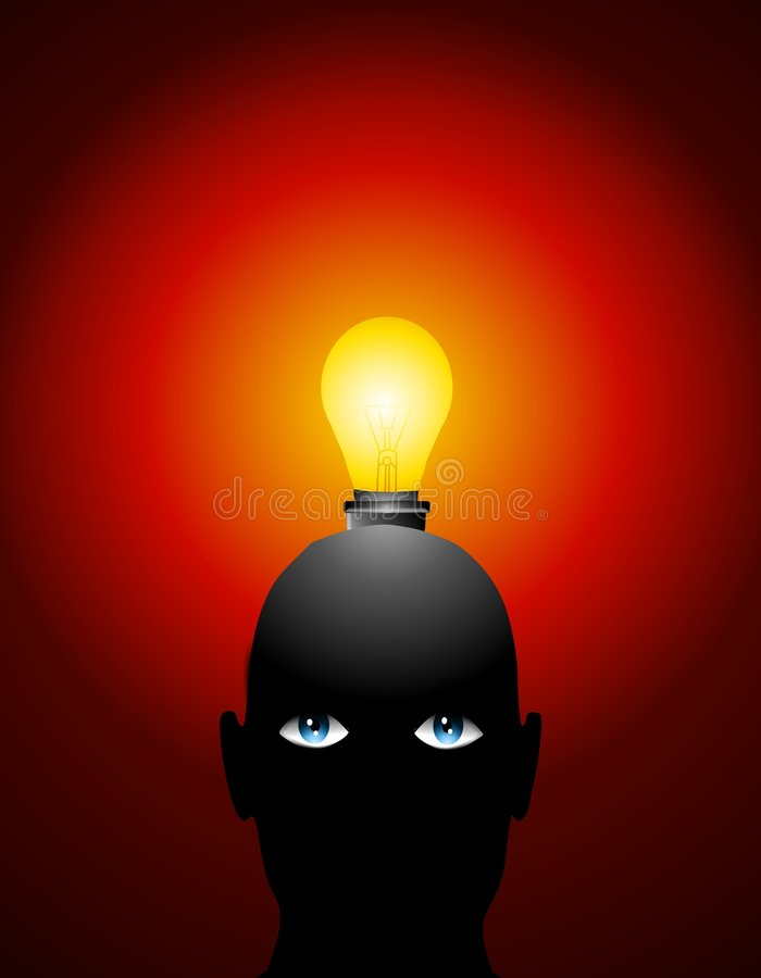 Big Ideas Lightbulb Head. An illustration featuring a person's head with a lightbulb sticking out of in a dark room to represent concepts in brainstorming stock illustration