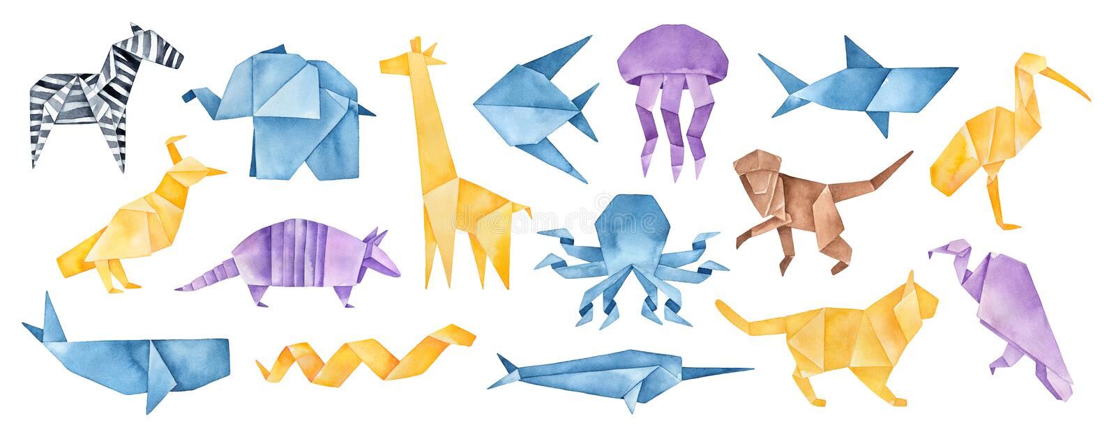 Big illustration collection of folded Origami Animals. Blue, yellow, violet, brown colors. Hand painted watercolour graphic drawing on white background, cut out stock illustration