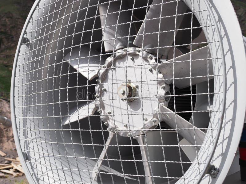 Big industrial metal electrical ventilation fan outdoor stock photo
