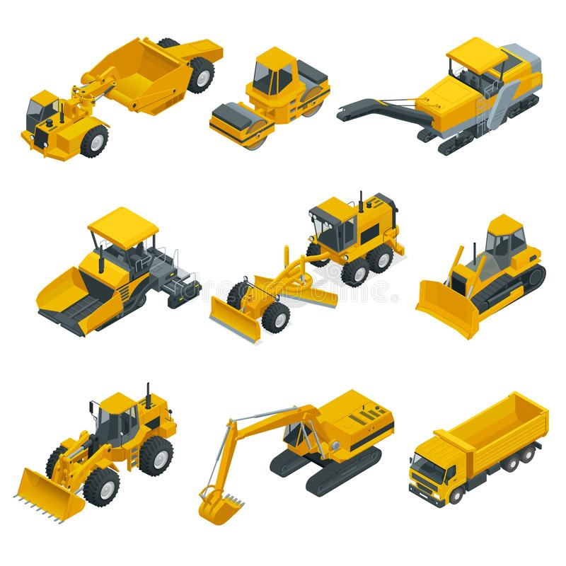 Big isometric set of construction equipment. Forklifts, cranes, excavators, tractors, bulldozers, trucks. Transport for laying and repair of asphalt. Career royalty free illustration