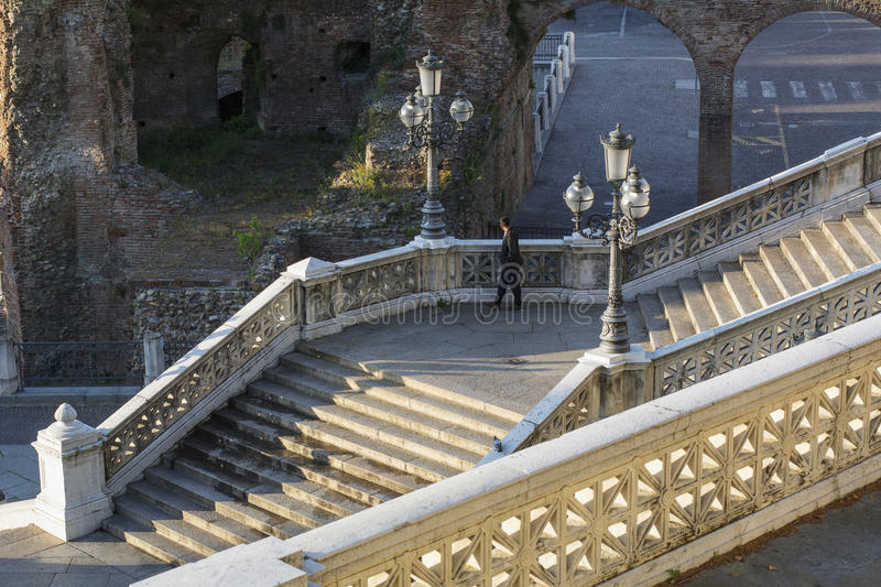 Big italian stairway with lanterns and stone banister royalty free stock photography