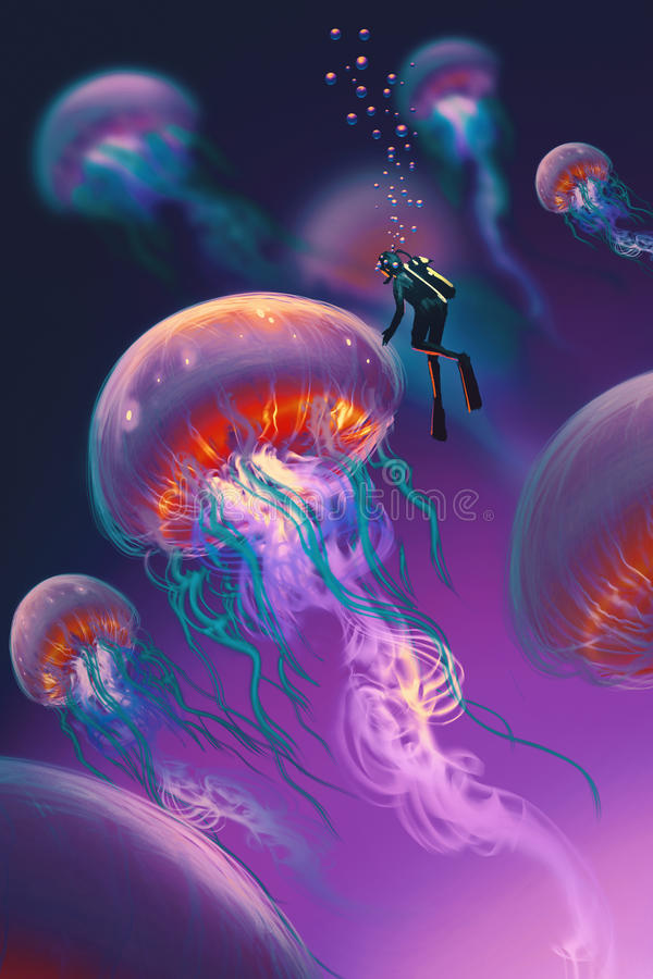 Big jellyfishes and diver in fantasy underwater royalty free illustration