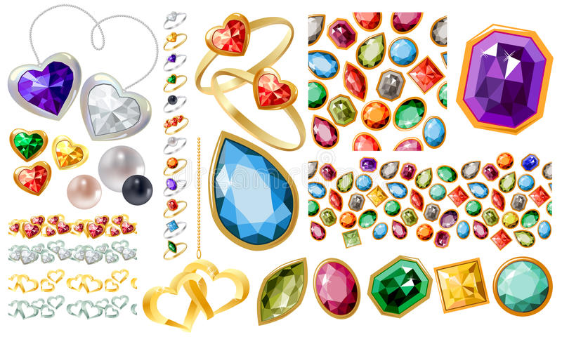 Big jewellery set with gems and rings. Big jewellery set with gems,perls,gold,silver and rings royalty free illustration