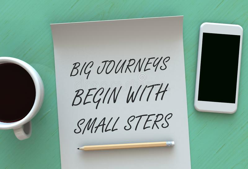 Big Journeys Begin With Small Steps, message on paper, smart phone and coffee on table royalty free stock photo