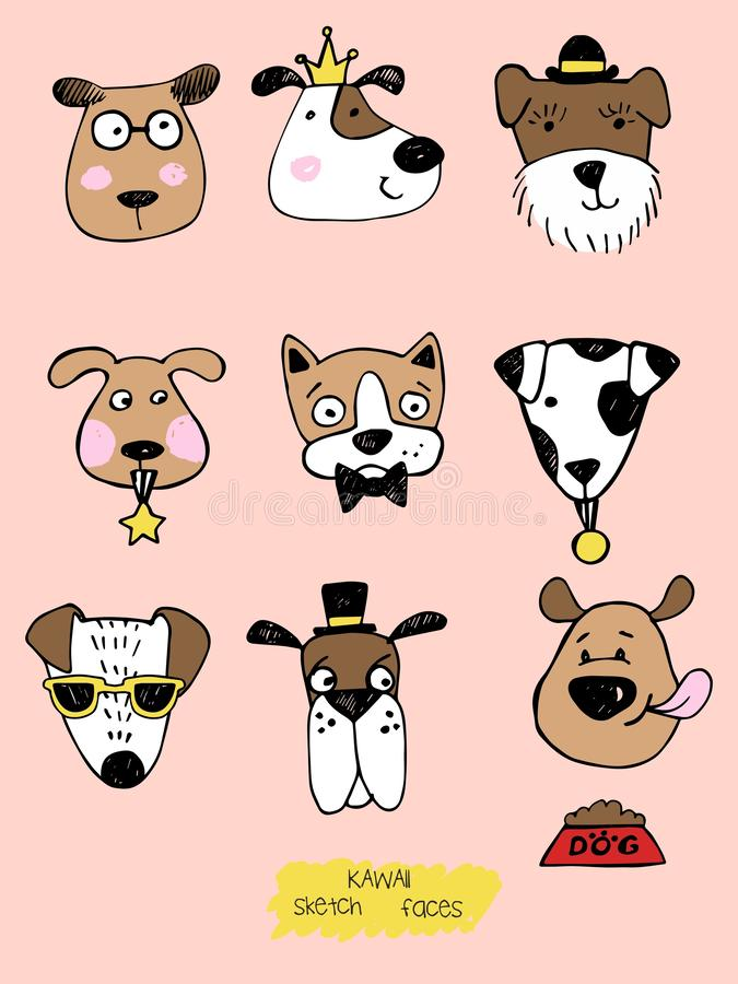 Big kawaii set of doodle cute sweet dogs, clipart collection, dogs faces with different emotions, emoticons, smileys royalty free illustration