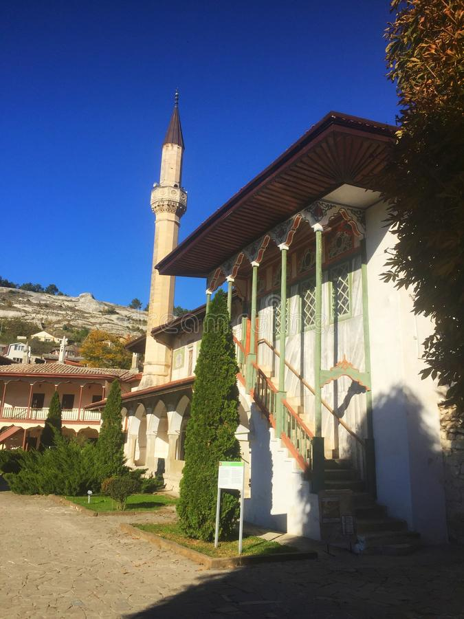 Big Khan Mosque in Bakhchisaray Palace. View of the Big Khan Mosque in Bakhchisaray Palace, also known as The Khan`s Palace or Hansaray, on the Crimean Peninsula stock images