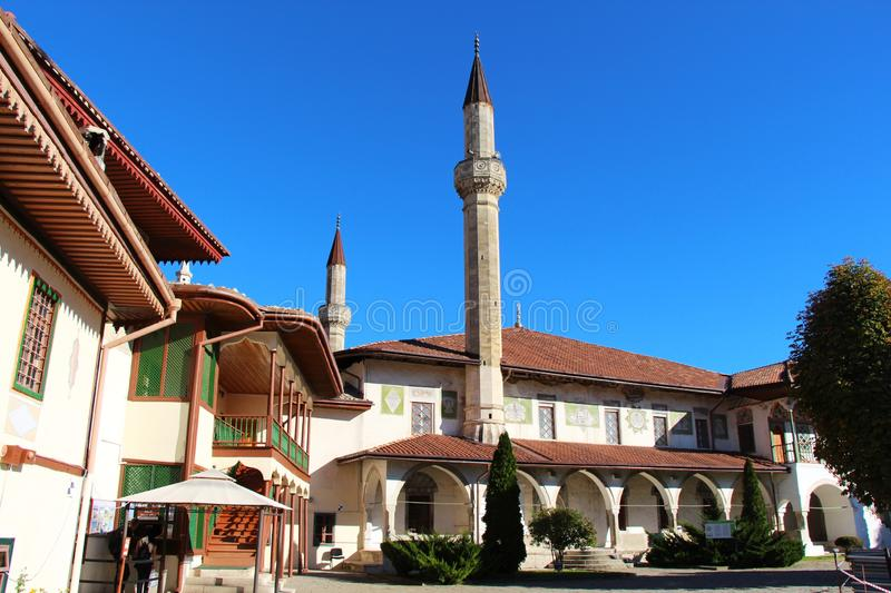 Big Khan Mosque in Bakhchisaray Palace. View of the Big Khan Mosque in Bakhchisaray Palace, also known as The Khan`s Palace or Hansaray, on the Crimean Peninsula stock photography