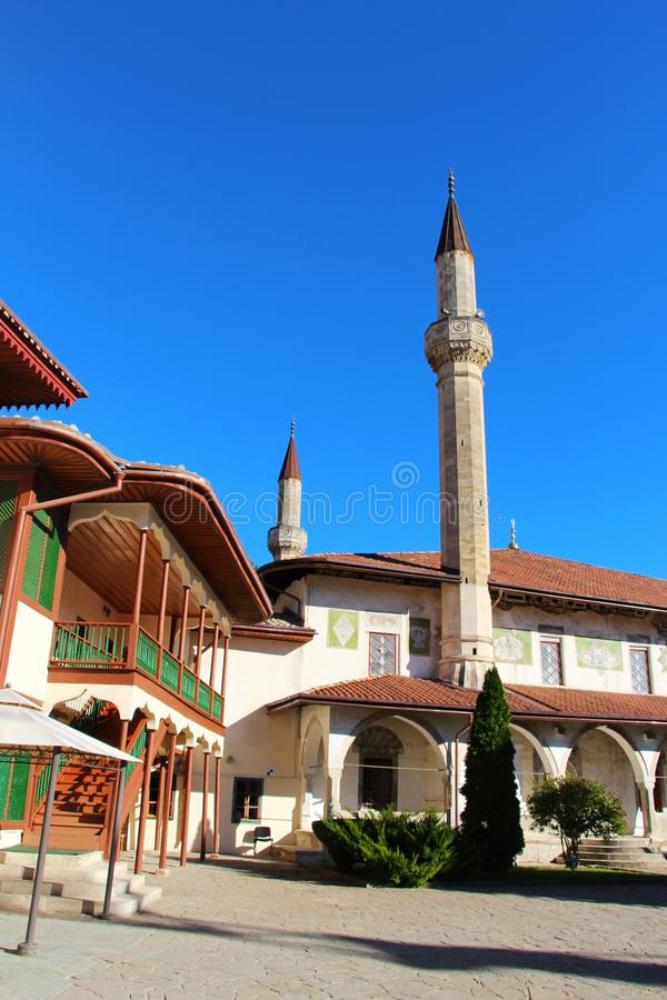 Big Khan Mosque in Bakhchisaray Palace. View of the Big Khan Mosque in Bakhchisaray Palace, also known as The Khan`s Palace or Hansaray, on the Crimean Peninsula royalty free stock photo