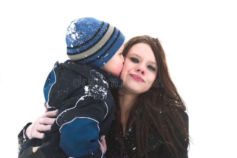 Download Big kiss for mommy stock image. Image of cold, beautiful - 473863