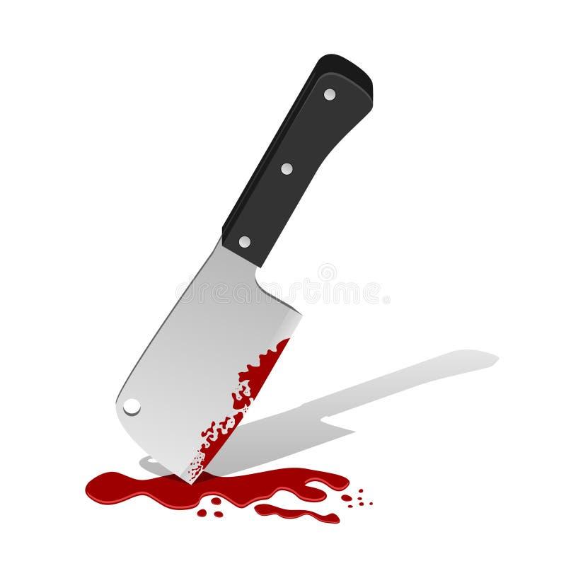 Big knife with blood stock illustration