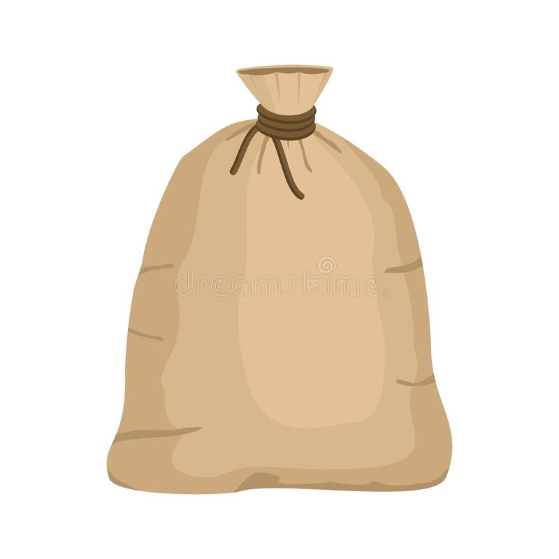 Big knotted sack full isolated on white background. Brown textile bag of potatoes or grain. Canvas sack closeup. Big knotted sack full isolated on white stock illustration
