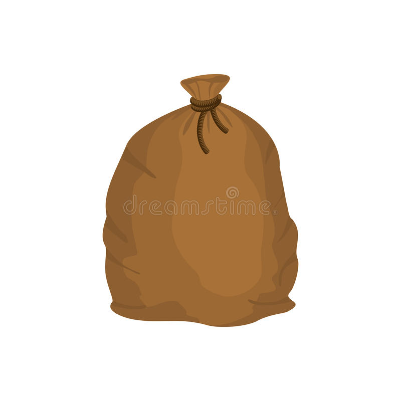 Big knotted sack of grain. Brown textile bag of potatoes. Farm o. Bject royalty free illustration