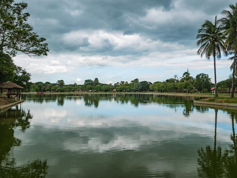 Big Lake in sukhothai historical park,. Thailand travel royalty free stock images