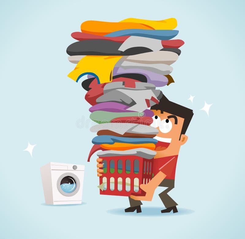 Big laundry day vector illustration