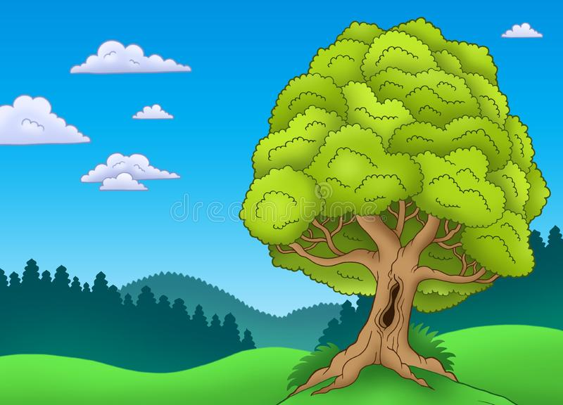 Download Big Leafy Tree In Landscape Stock Illustration - Illustration of outdoor, drawing: 14589283