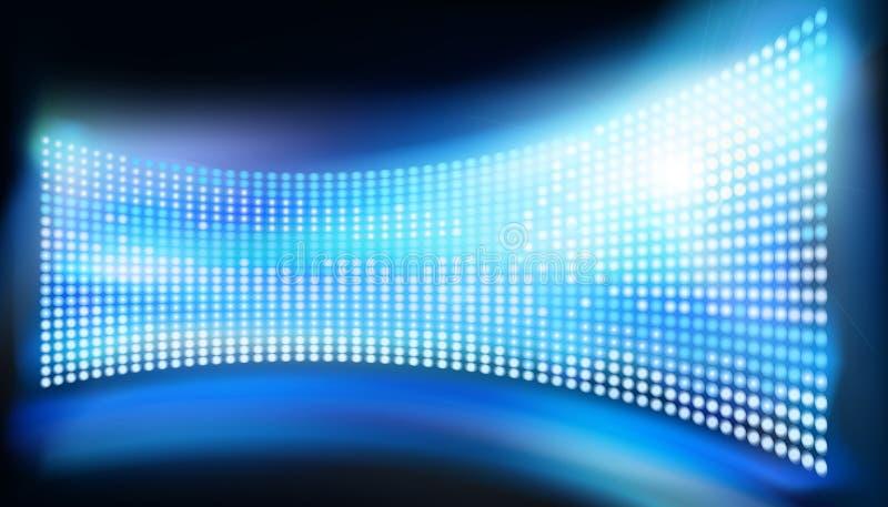 Big led projection screen. Vector illustration. Big led projection screen on the stage. Blue abstract background. Vector illustration vector illustration