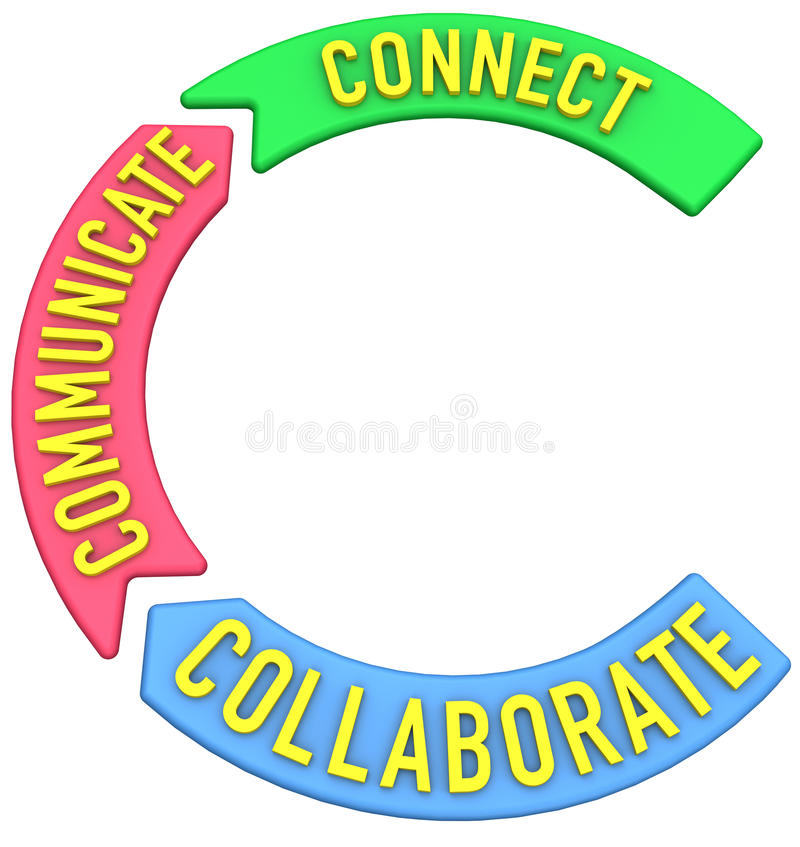 Connect collaborate communicate 3D arrows. Big letter C to start words about collaboration connection communication royalty free illustration