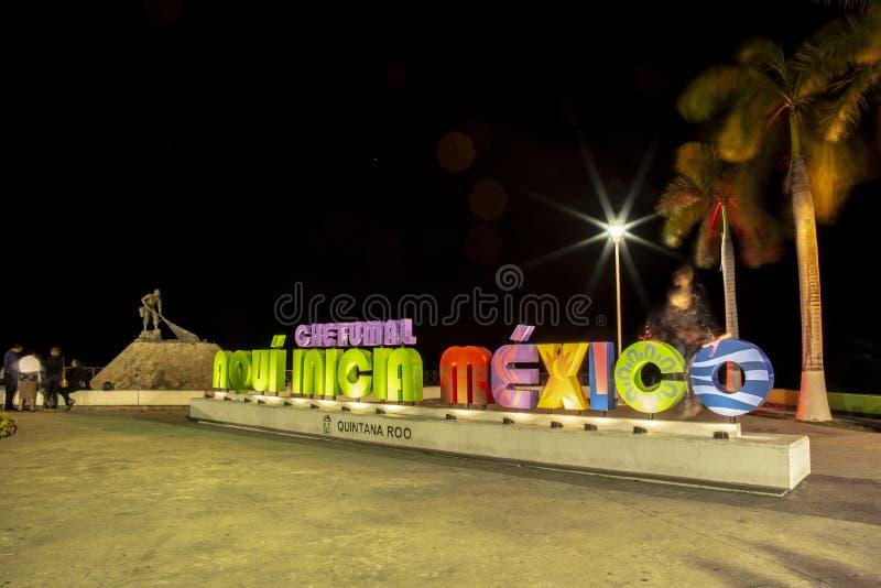 Big letters of chetumal, night, Quintana Roo. Art, memento, column, memorial, mexico, cultur, keepsake, war, freedom, beach, sign, caribbean, city, background royalty free stock image