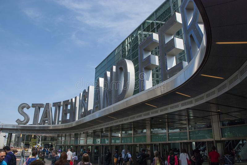 Big letters at entrance to Staten Island Ferry Terminal in New York City stock photo