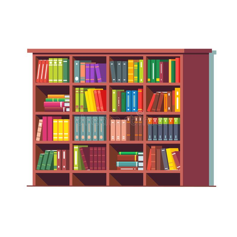 Big library wooden bookcase full of books vector illustration