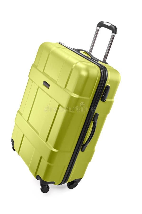 Big luggage bag. Big light green plastic luggage bag with wheels for travel royalty free stock photo