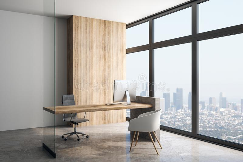 Big light modern loft style office in skyscraper. Megapolis view from big clean windows in modern office with wooden wall, table, concrete floor and glass wall royalty free illustration