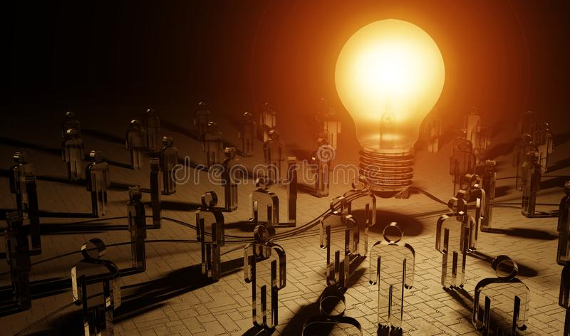 Big lightbulb illuminating a group of people 3D rendering stock photography