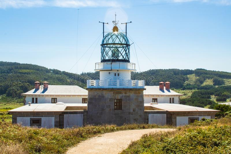 A big Lighthouse. A large lighthouse with a glass dome on a sunny summer day stock photo