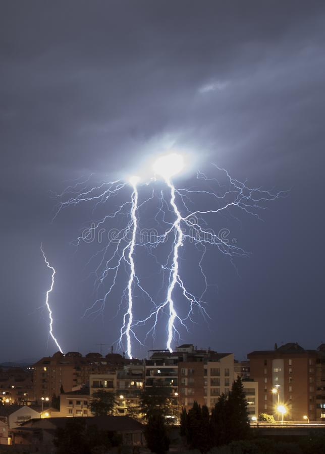 Big lightning storm at Granollers royalty free stock photography