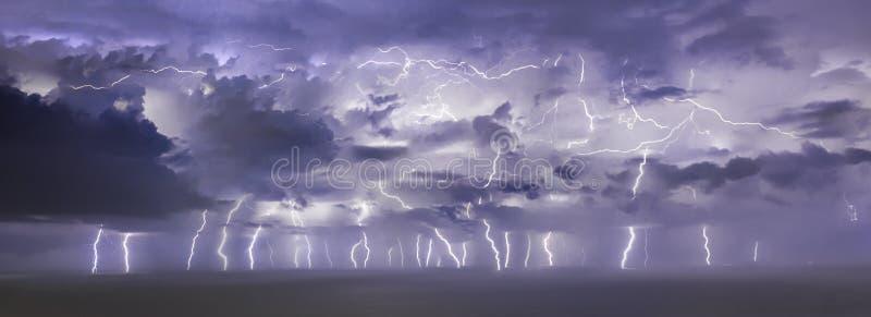 Big lightning storm at Pineda Barcelona. Big lightning storm at Pineda royalty free stock photo