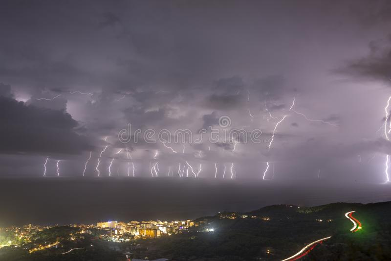 Big lightning storm at Pineda Barcelona. Big lightning storm at Pineda royalty free stock photos