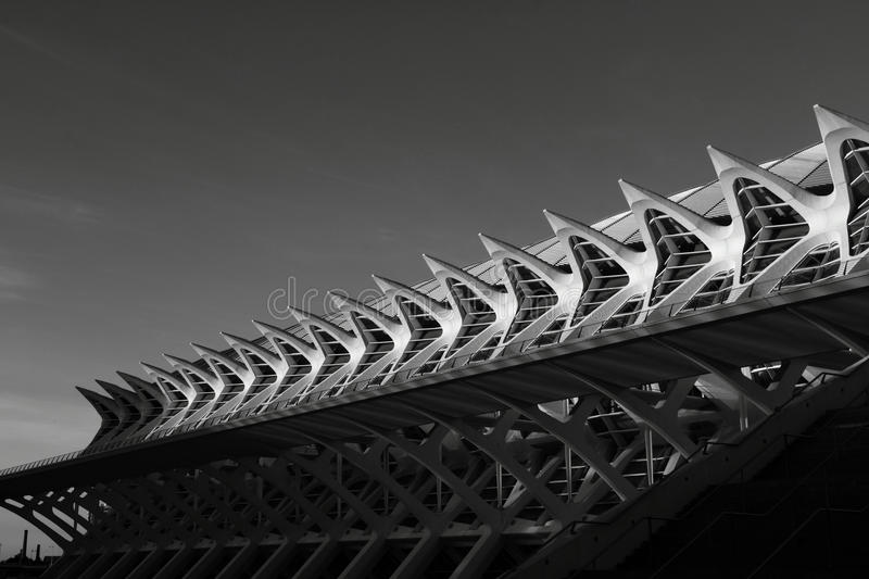 The big line. Shot in black and white, detail on a modern building placed at the Ciutat de les arts, set in Valencia, España, Spain, Europa, Europe royalty free stock photo