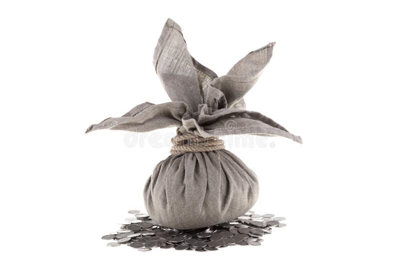 Download Big linen bag on coins stock image. Image of treasure - 22942583