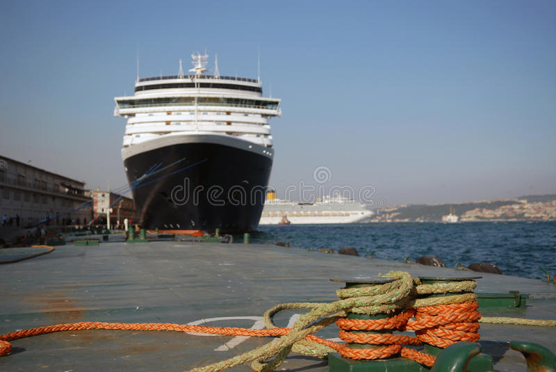 The big liner in port. At a mooring royalty free stock images