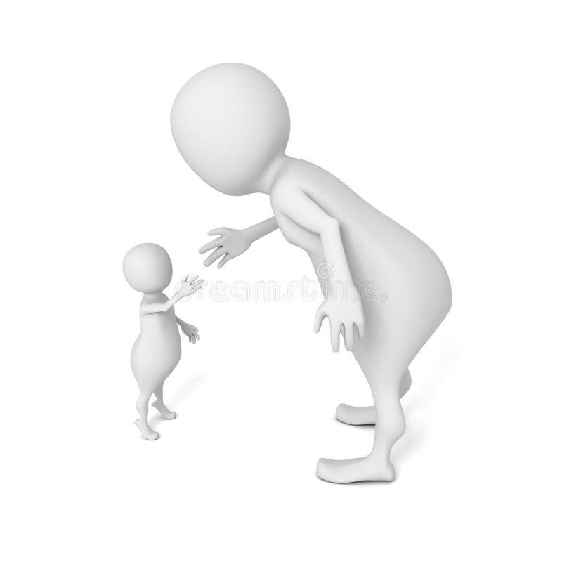 Big and little 3d men shake hands vector illustration