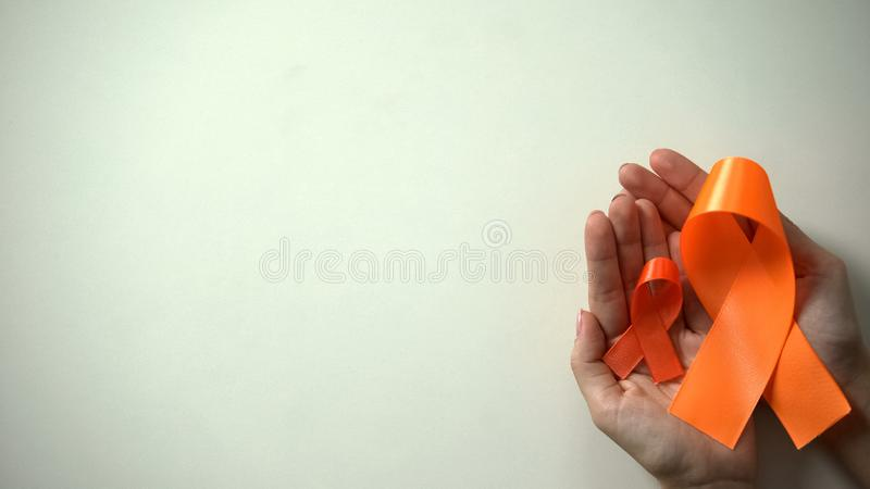 Big and little orange ribbons in hands, leukemia awareness campaign, healthcare. Stock photo stock photography