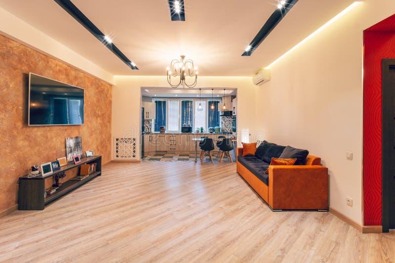 Big living-kitchen studio room royalty free stock photography