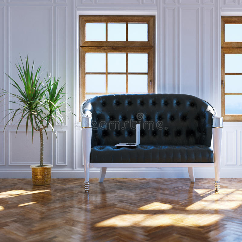 Big living room with black leather sofa in center and big window royalty free stock photos