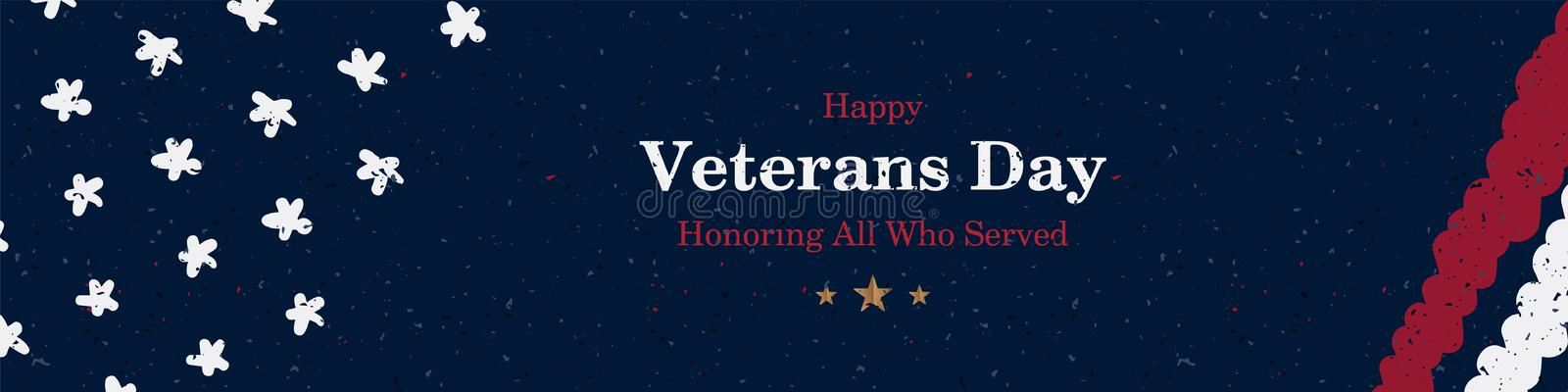 Big long banner Veterans Day. Greeting card with USA flag on background with texture. National American holiday event. Flat vector vector illustration