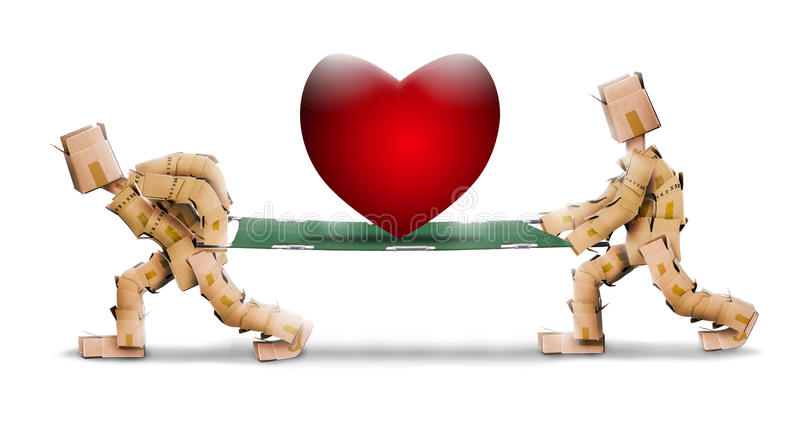 Big love heart on stretcher carried by box characters vector illustration