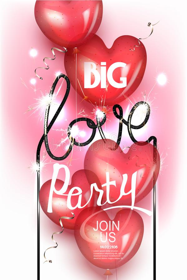 Big Love party with heart shaped air balloons and sparklers. vector illustration