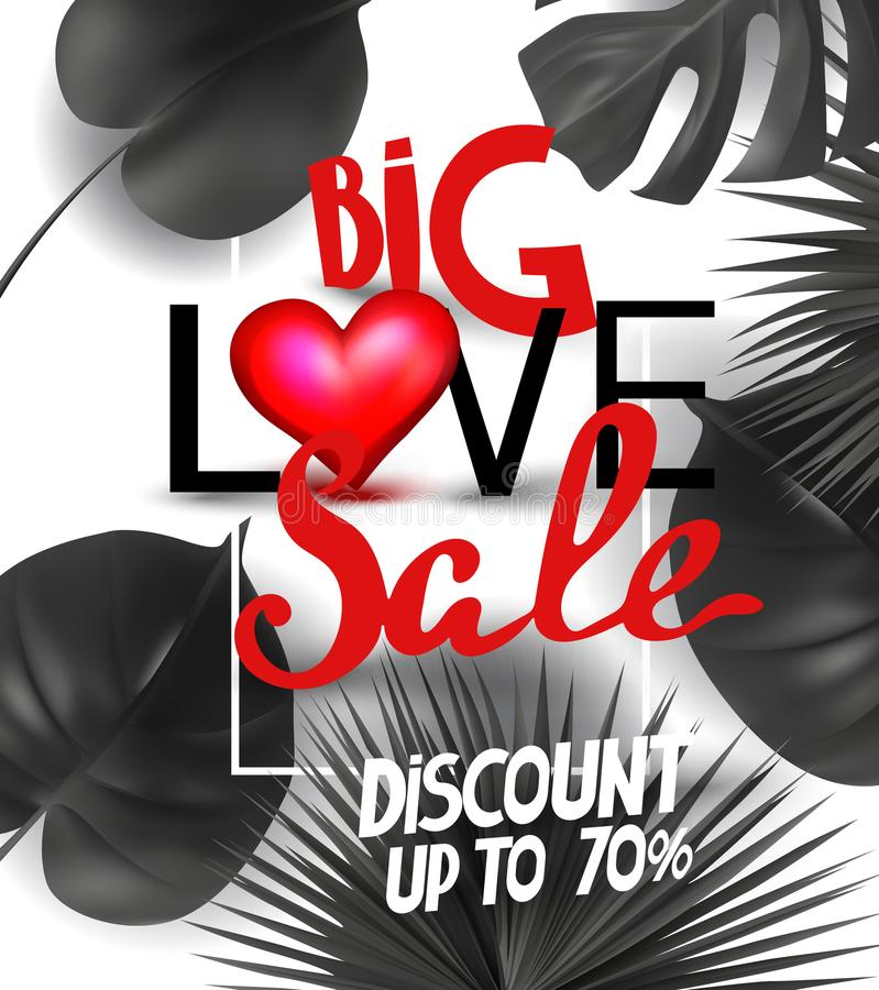 Big love sale announcement banner with tropical leaves and red heart and letters. stock illustration