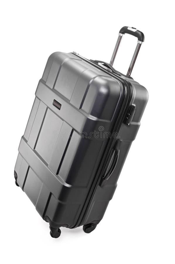 Big luggage bag. Big black plastic luggage bag with wheels for travel royalty free stock photos