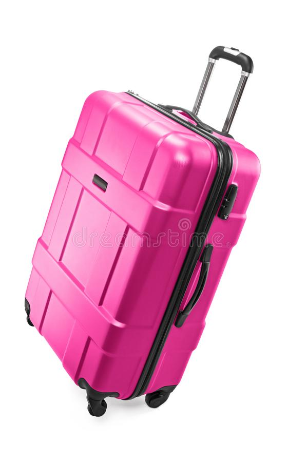 Big luggage bag. Big pink plastic luggage bag with wheels for travel royalty free stock images