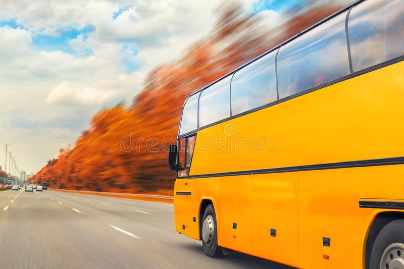 Big luxury comfortable tourist bus driving through golden autumn tree highway on bright sunny day. Blurred motion.Travel royalty free stock image