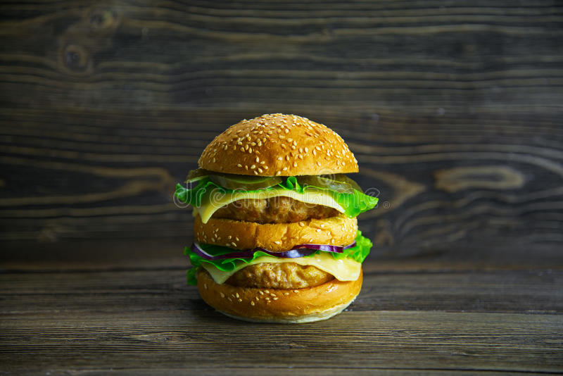 Big Mac with fresh vegetables and juicy cutlet stock photos