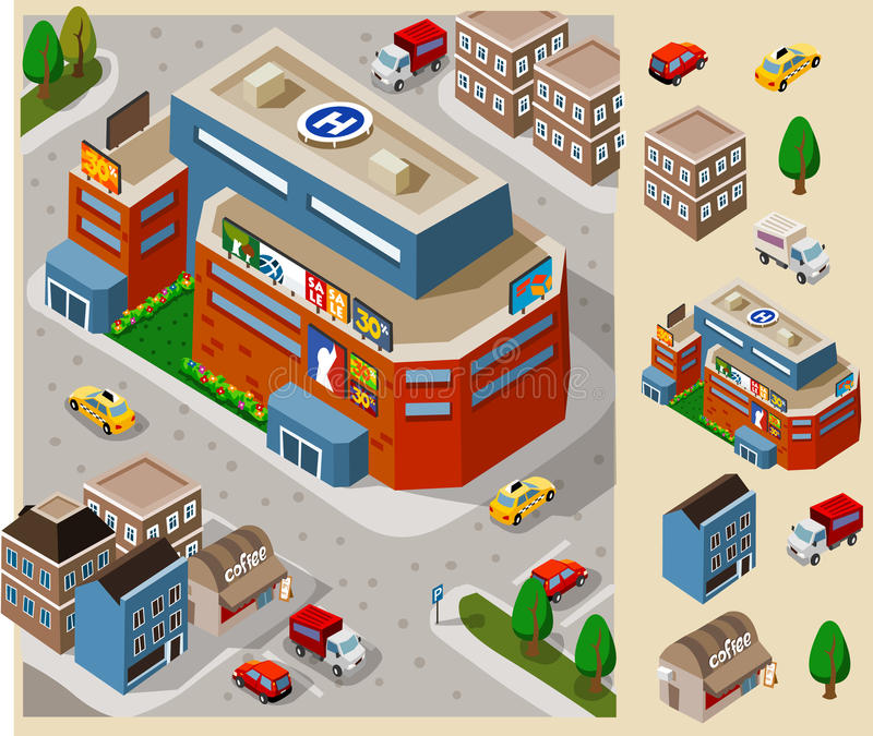 Big Mall. Set of very detailed isometric royalty free illustration