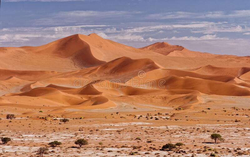 The Big Mamma Sand Dune of Namib desert, near Sossusvlei, Namibia. Photographed from Deadvlei dunes. royalty free stock image